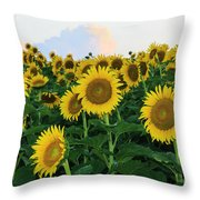 Sunflowers In The Clouds Throw Pillow
