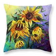 Sunflowers In The Rain Throw Pillow