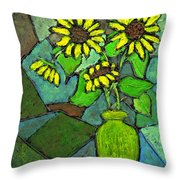 Sunflowers In Vase Green Throw Pillow