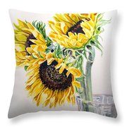 Sunflowers Throw Pillow by Irina Sztukowski