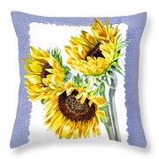 Sunflowers On Baby Blue Throw Pillow