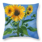 Sunflowers On Bauer Farm Throw Pillow