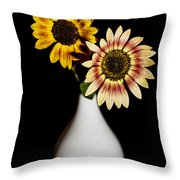 Sunflowers On Black Background And In White Vase Throw Pillow