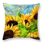 Sunflowers On Holiday Throw Pillow