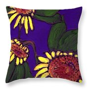 Sunflowers On Purple Throw Pillow