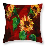 Sunflowers On Rojo Throw Pillow