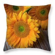 Sunflowers On White Boards Throw Pillow