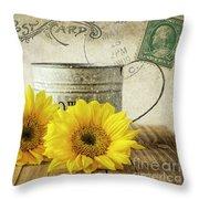 Sunflowers Postcard Throw Pillow