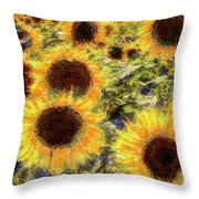 Sunflowers Summer Van Gogh Throw Pillow