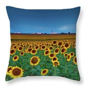 Sunflowers Under A Stormy Sky By Denver Airport Throw Pillow