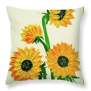 Sunflowers Using Palette Knife Throw Pillow