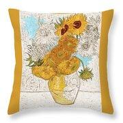 Sunflowers Van Gogh Digital Art Throw Pillow