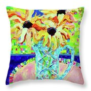 Sunflowers With Trellis Collage Throw Pillow