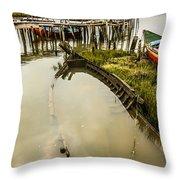 Sunken Fishing Boat Throw Pillow