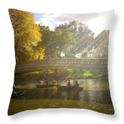 Sunlight And Boats - Central Park -  New York City Throw Pillow