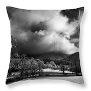 Sunlight Clouds And Snow In Black And White Throw Pillow