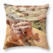 Sunlight On Colorful Boulder Above Wash 3 In Valley Of Fire Throw Pillow