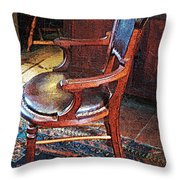 Sunlight On Leather Chair Throw Pillow