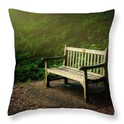 Sunlight On Park Bench Throw Pillow