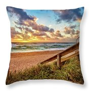 Sunlight On The Sand Throw Pillow by Debra and Dave Vanderlaan