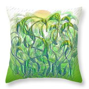 Sunlight On Wet Grass Throw Pillow