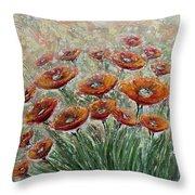 Sunlight Poppies Throw Pillow