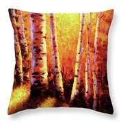 Sunlight Through The Aspens Throw Pillow