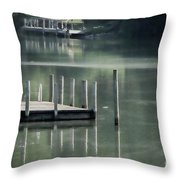 Sunlit Dock Throw Pillow