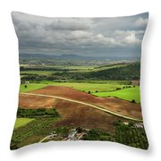 Sunlit Farms And Fields Below Arcos De La Frontera Andalusia Spa Throw Pillow