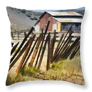 Sunlit Fence Throw Pillow