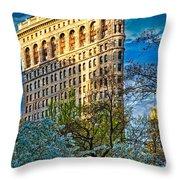 Sunlit Flatiron Spring Throw Pillow