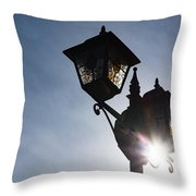 Sunlit Jewels - Stained Glass Lamps And Sunburst Right Throw Pillow