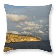 Sunlit Limestone Cliffs In Malta Throw Pillow