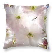 Sunlit Pink Blossoms Art Print Spring Tree Blossom Baslee Throw Pillow