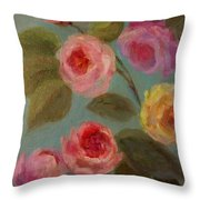 Sunlit Roses Throw Pillow