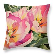 Sunlit Tulips Throw Pillow