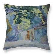 Sunlit Wall Under A Tree Throw Pillow