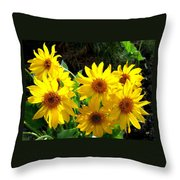 Sunlit Wild Sunflowers Throw Pillow