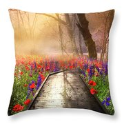 Sunlit Wildflowers Throw Pillow