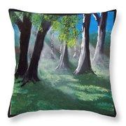 Sunlit Woods Throw Pillow