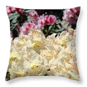 Sunlit Yellow Rhodies Art Print Creamy Rhododendrons Flowers Baslee Troutman Throw Pillow