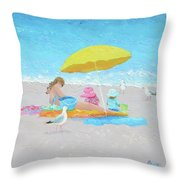 Sunny Beach Days Throw Pillow