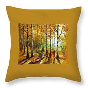 Sunny Birches Throw Pillow