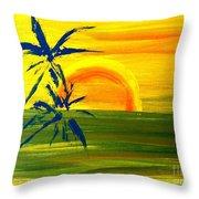 Sunny Blue Palms Throw Pillow