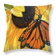 Sunny Butterfly Throw Pillow