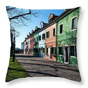 Sunny Colors Of Burano Throw Pillow