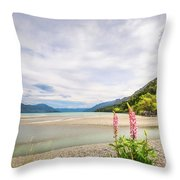 Sunny Day At Kinloch Wharf In New Zealand Throw Pillow