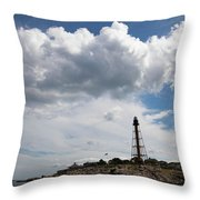 Sunny Day At Marblehead Lighthouse Throw Pillow