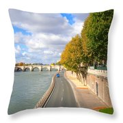 Sunny Day In Paris Throw Pillow
