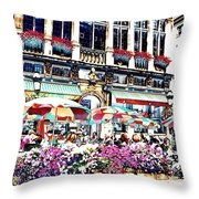 Sunny Day On The Grand Place Throw Pillow